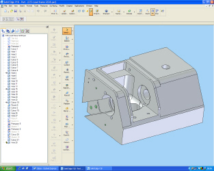 Solid Edge 3D CAD package showing C53 load frame